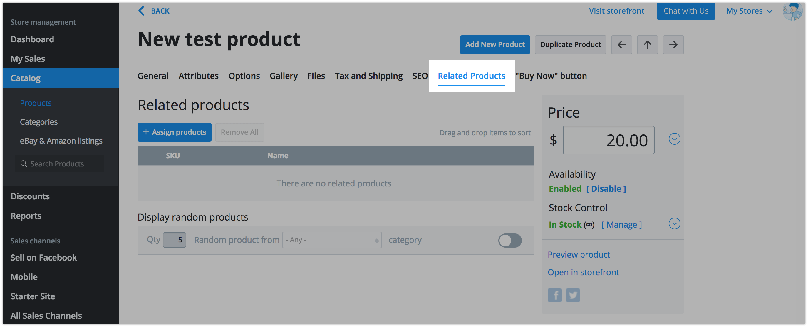 The related products tab