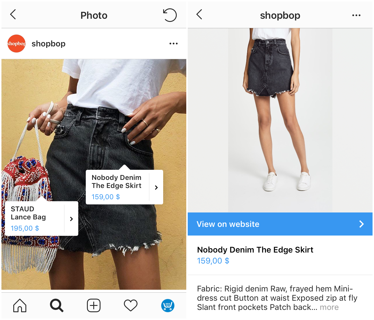 Example of shoppable posts on Instagram