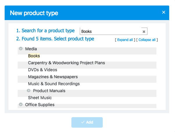 Search for a product type